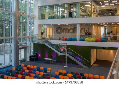 Moscow - June 22, 2019: Mail.ru group IT company headquarters office interior