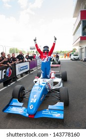 MOSCOW - JUNE 23: Oliver Rowland of Manor MP Motorsport team (NED) finish first at Formula Renault 2.0 race at World Series by Renault in Moscow Raceway on June 23, 2013 in Moscow
