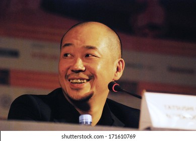 MOSCOW - JUNE 28: Japanese film director and actor Tatsushi Oomori at the press-conference of a film Ravine of goodbye at 35 Moscow International Film Festival on June 28, 2013 in Moscow.