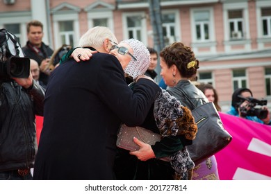 MOSCOW - JUNE, 28: Nikita Mikhalkov greeting Nina Chyrikova. 36st Moscow International Film Festival. Closing Ceremony at Rossiya Cinema . June 28, 2014 in Moscow, Russia