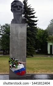 MOSCOW - JUNE 30, 2019: Monument to Yuri Gagarin, first cosmonaut. Popular landmark.