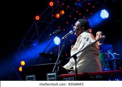 """MOSCOW - JUNE 5: American musician Lucky Peterson sings at the open-air VIII International Festival """"Usadba Jazz"""" on June 5, 2011 in Archangelskoye Mansion in Moscow, Russia."""