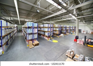 MOSCOW - JUNE 5: Large warehouse with shelves at Caparol factory on June 5, 2012 in Moscow, Russia. Caparol company has existed for 115 years.