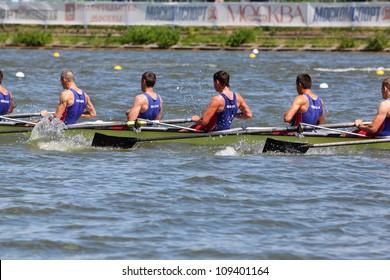 MOSCOW  - JUNE 5: Russian men teams rowing at boat at Great Moscow Regatta 2011 on June 5, 2011 in Moscow, Russia.