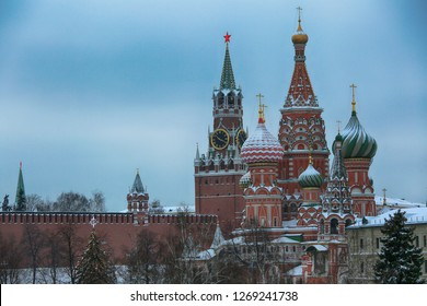 The Moscow Kremlin. Beautiful winter view of St. Basil's Cathedral and Spasskaya Tower