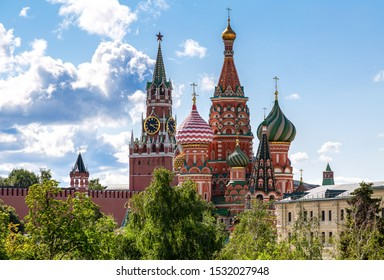 Moscow Kremlin, Cathedral of Vasily Blessed (St. Basil's Cathedral) view from Zaryadye park in Moscow