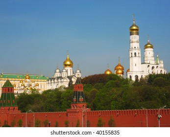 Moscow, Kremlin fortress with cathedrals inside.