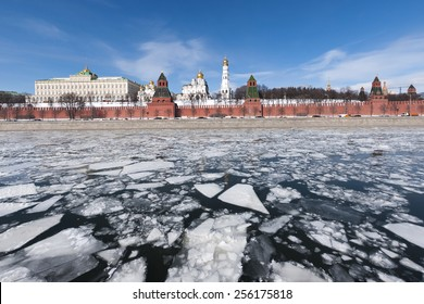 The Moscow Kremlin. The ice on the Moskva river