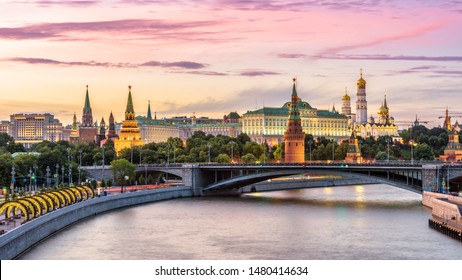 Moscow Kremlin at Moskva River, Russia. Panorama of the Moscow old city at sunset. Nice view of ancient Moscow Kremlin in summer evening. Beautiful cityscape of the famous Moscow center at dusk.