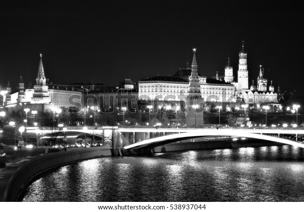 Moscow Kremlin at night, UNESCO World Heritage Site. Black and white photo.