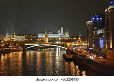 Moscow Kremlin at night. View of the Kremlin embankment in the dark.