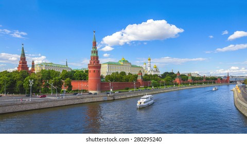 Moscow Kremlin on a sunny day, Kremlin Embankment