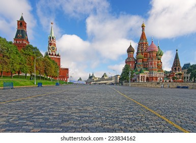 Moscow Kremlin, Red Square and Saint Basil orthodox iconic Cathedral