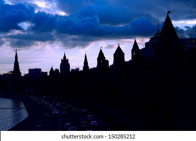 Moscow Kremlin silhouette in blue tones. UNESCO World Heritage Site.