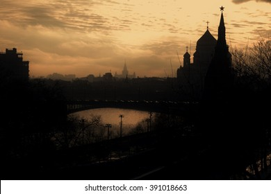 Moscow Kremlin silhouette. UNESCO World Heritage Site. Color photo.