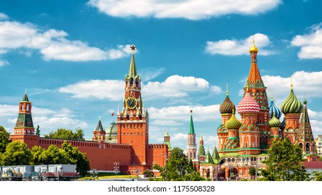 Moscow Kremlin and St Basil's Cathedral, Russia. It is a top tourist attraction of Moscow. Famous ancient architecture of Moscow against the blue sky. Panorama of the Moscow city center in summer.