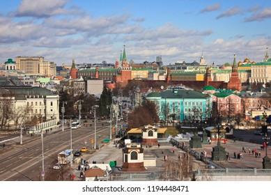 Moscow Kremlin and street from rooftop
