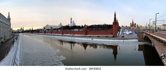 Moscow Kremlin view across Moskva river with ice. Panorama.