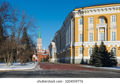 Moscow Kremlin, View of the building of the Senate, built 1776 - 1787 years by the architect M.F. Kazakova  and on the Nikolskaya tower built in 1491