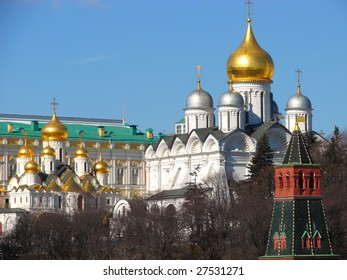 Moscow. The Kremlin wall and architecture monuments in territory of the Kremlin. The big Kremlin palace of congresses, the Arkhangelsk Cathedral. A kind from the river Moscow.