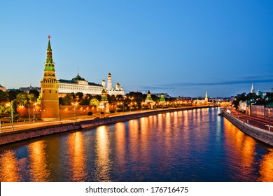 Moscow Kremlin wall, evening view from Big Stone Bridge.