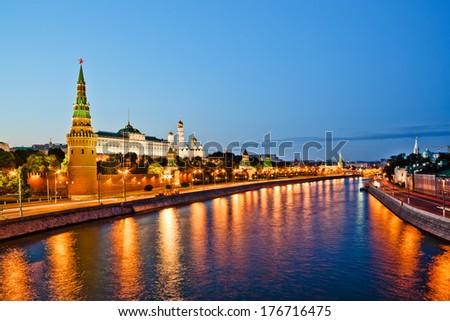 Moscow Kremlin wall, evening view from Big Stone Bridge.