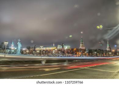 Moscow Kremlin in winter night. Russia