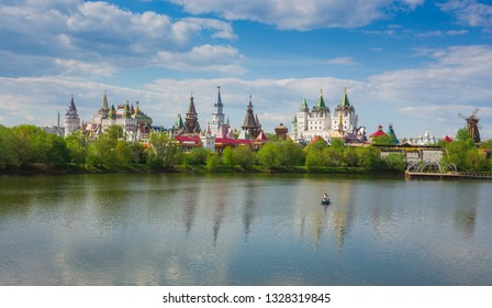 Moscow landscape. Kremlin in Izmailovo is reflected in the lake.
