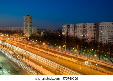 Moscow: long exposure of a main road at dawn