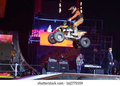 MOSCOW - MAR 02: Freestyle a quad bike on the festival extreme sports Breakthrough 2013, on March 02, 2013 in Moscow, Russia.