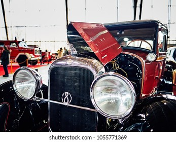 MOSCOW - MAR 09, 2018: Studebaker President (1928) at exhibition Oldtimer-Gallery in Sokolniki Exhibition Center. It is only one in Russia exhibition of vintage cars and technical antiques.