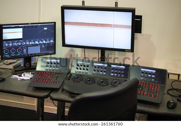 MOSCOW - MAR 12, 2014: Equipment for mounting movie with a monitor, software and control panel