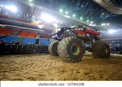 MOSCOW - MAR 23: Big car and empty stands on Show Monster Mania in Olimpiyskiy in March 23, 2013 in Moscow, Russia.