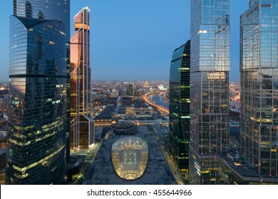 MOSCOW - MAR 26, 2016: Central core in Moscow International Business Center in evening. Underground part of Core includes 3 metro stations