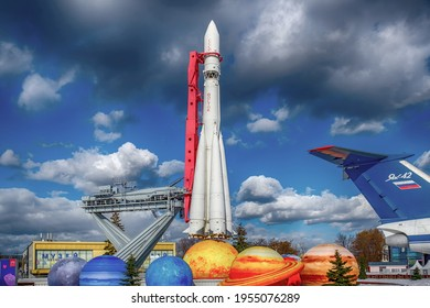 Moscow - March 09, 2019: Exhibition of Achievements of the National Economy (VDNKh), on the pedestal of the Vostok rocket.