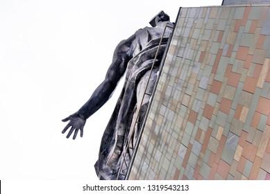MOSCOW - MARCH 11, 2018: Monument to Worker and kolkhoz woman, architect V. Mukhina. Popular landmark.
