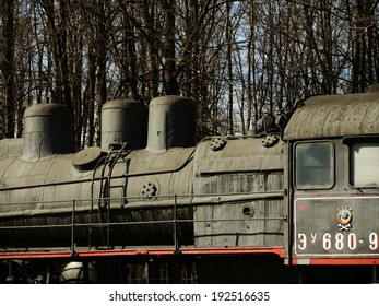 MOSCOW - MARCH 14: Former russian locomotive of the World War II in the Museum of the Great Patriotic War, on March 14, 2014 in Moscow, Russia.