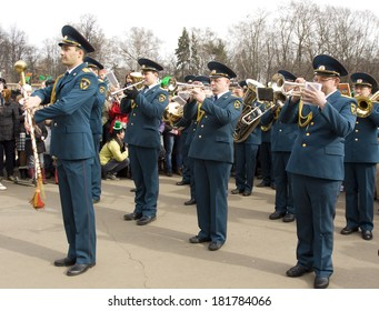 MOSCOW - MARCH 15, 2014: Parade in S. Patrick`s day in Moscow, Russian military orchestra.