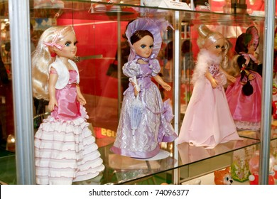 MOSCOW - MARCH 16: Dolls in different dresses presented at the International Toy Specialized Exhibition March 16, 2011 in Moscow