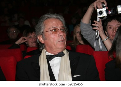 """MOSCOW - MARCH 17: Alain Delon arrives for closing ceremony the   X International Film Festival """"Faces of Love"""" on March 17, 2005 in Moscow, Russia"""