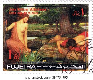 "MOSCOW MARCH 22, 2016: A stamp printed in Fujeira shows ""Echo and Narcissus"" by Waterhouse, series, circa 1971"