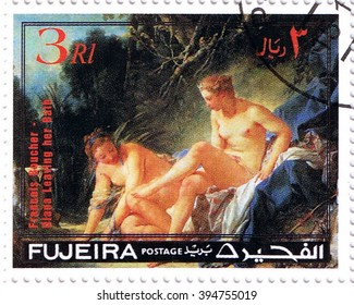 "MOSCOW   MARCH 22, 2016: A stamp printed in Fujeira shows ""Diana Leaving the Bath"" by Francois Boucher, series, circa 1971"