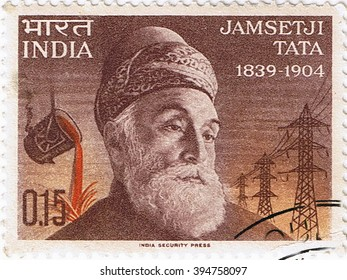 MOSCOW  ?? MARCH 22, 2016: A stamp printed in India shows a portrait of the founder of steel industry Jamsetji Tata, circa 1965