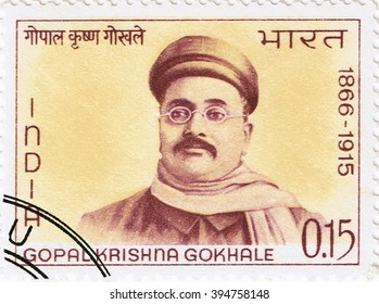 MOSCOW  MARCH 22, 2016: A stamp printed in India shows a portrait of the leader of the opposition party Gopal Krishna Gokhale, circa 1966