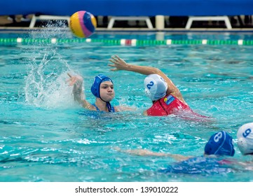 MOSCOW - MARCH 23 : Unidentified sportsmen on semifinal waterpolo game Skif Izmailovo vs Widex Donk Netherlands, women, on March 23, 2013. Moscow, Russia