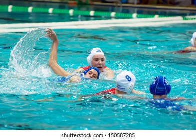 MOSCOW - MARCH 23 : Unidentified sportsmen in action on semifinal waterpolo game Skif Izmailovo vs Widex Donk Netherlands, women, on March 23, 2013. Moscow, Russia