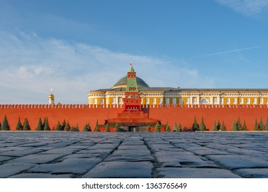 Moscow - March 31 2019: Red Square, view on wall of Kremlin and Lenin's mausoleum in centre.