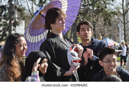 MOSCOW - MAY 02, 2013: Cosplayer dressed as Japanese anime character on parade of soap bubbles Dreamflash at VDNH.