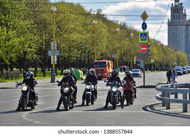 MOSCOW - MAY 04, 2019: Bikers meeting on Vorobyovy gory in Moscow, popular landmark.