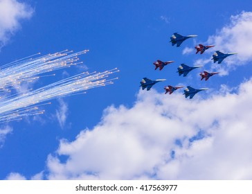 MOSCOW - MAY 07: planes over Red Square on May 7, 2016 in Moscow, Russia.